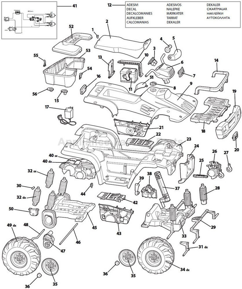 Wiring Diagram For 2013 Polaris Ranger together with 858970 Razor Drifter Battery Cover W25140099031 further 208296 12 18 24 Volt Single Battery Ride On Toy Wiring Diagram also 857771 Peg Perego Steering Column Spst8401n likewise Igod0033. on peg perego power s