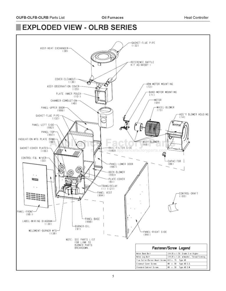 Comfort Aire Olrb125 D5 Parts